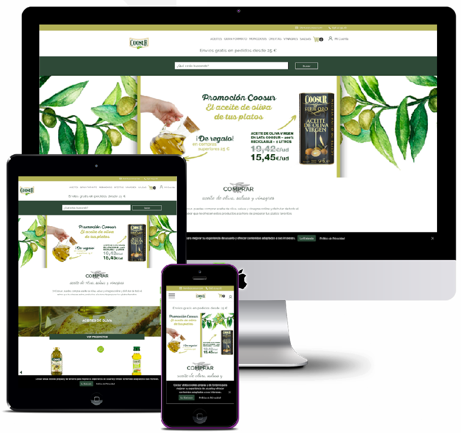Online store for the sale of oils